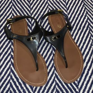 Ralph Lauren black thong sandals 10B gold buckle